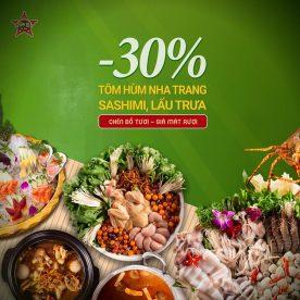 Giảm 30% Lẩu trưa, sashimi, lẩu trưa